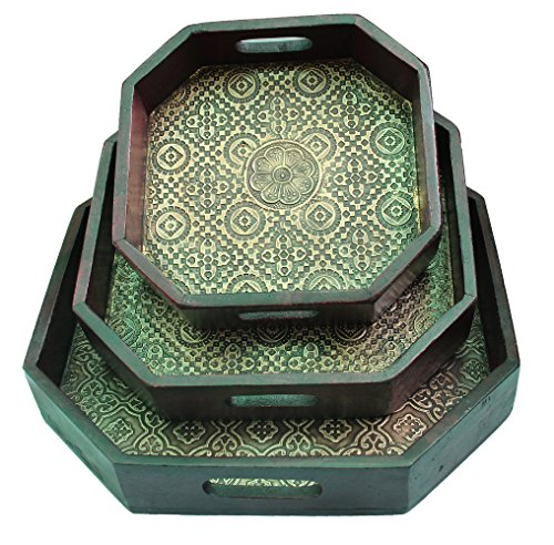 Wooden Brass Octagonal Serving Tray Set Of 3 Handmade Gift Item For Home Decor Pink City Showpiece