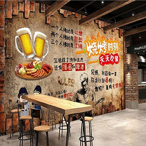 Fototapete Tapete Wanddeko Home Decor-Retro Nostalgische Werkzeug Tapete Grill Grill Hot Pot Gegrillte Fischspieße Duftendes Restaurant Hintergrundbild Wandbild 150Cm X 105 Cm
