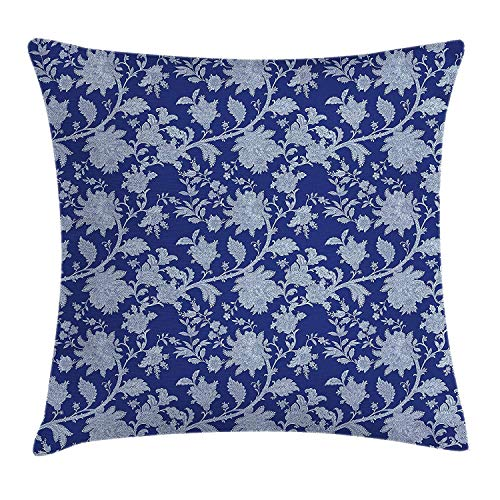 Europäische Paisley-sham (Floral Throw Pillow Cushion Cover, Classic Middle Eastern Flowers and Paisley Pattern Ottoman Nostalgic Bloom Design, Decorative Square Accent Pillow Case, 18 X 18 Inches, Royal Blue)
