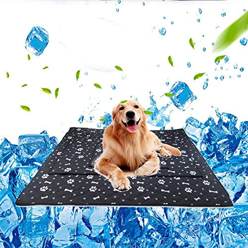 Haustierhund Self Cooling Mat Pad, Paw & Bone Printed Ice Silk Mat Pet Cooling Non Sticking Blanket, Keep Pets Dogs Summer Cool Comfort für Home and Travel, Auto-Sitze, Crates und Betten
