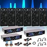 6000W PA Musik Anlage Event Beschallung 6x Lautsprecher 3x Verstärker Kabel DJ-223