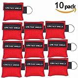LSIKA-Z 10 Stücke CPR Mask RESPI-Key Beatmungsmaske Schlüsselanhänger Beatmungshilfe Notfalltuch Taschenmaske Erste Hilfe (RED)