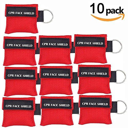 Produktbild LSIKA-Z 10 Stücke CPR Mask RESPI-Key Beatmungsmaske Schlüsselanhänger Beatmungshilfe Notfalltuch Taschenmaske Erste Hilfe (RED)