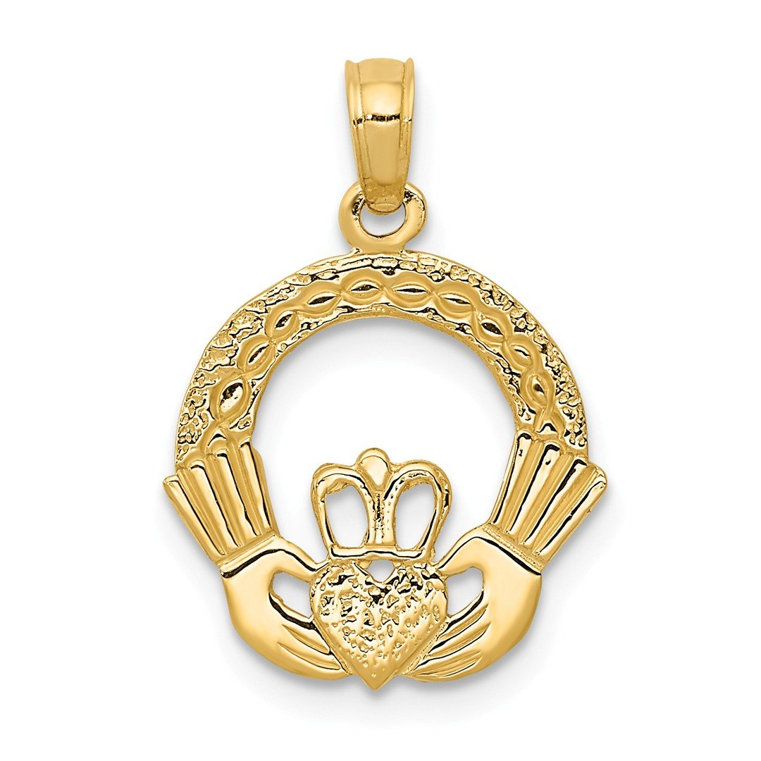 14k Yellow Gold Irish Claddagh Celtic Knot Pendant Charm Necklace Good Luck Italian Horn Fine Jewellery For Women Gifts…