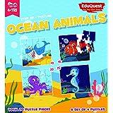 EduQuest - Jigsaw Puzzle - Ocean Animals - 4+ Years Old - Set Of 4 Puzzles - 10,15,20,25 Piece Puzzles - Shark(10 Piece), Clown Fish(15 Piece), Octopus(20 Piece), Sea Horse(25 Piece)