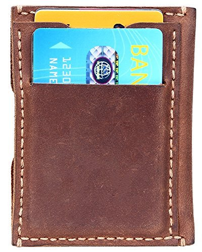 292c36626b21 Spiex Slim Credit Card Wallet Minimalist Wallets Leather Credit Card Holder  - Brown -