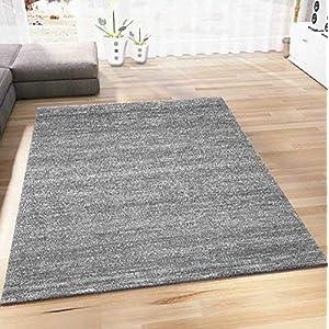 VIMODA Wohnzimmer Teppich Modern Meliert Kurzflor, Farbechtheit, Pflegeleicht in GRAU, Maße:120 x 170 cm