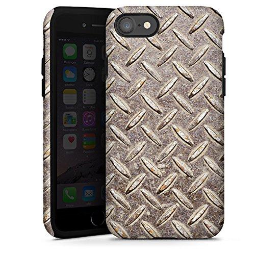 Apple iPhone X Silikon Hülle Case Schutzhülle Stahl Look Metall Tough Case glänzend