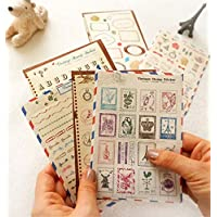 Ensemble de 6 feuilles Craft Dairy Stamp Paper Stickers Deco Sticker Album-souvenir cadeau