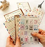 YPSelected Ensemble de 6 feuilles Craft Dairy Stamp Paper Stickers Deco Sticker Album-souvenir cadeau