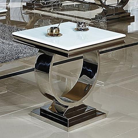 Beistelltisch Fiona 60 x 60 x 50 cm Weiß Barock stil Tisch rokoko Wohnzimmer Chrom Edelstahl weiss