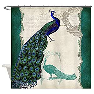 CafePress Vintage Peacock Etchings Scroll Swirl Watercolor S Shower Curtain -