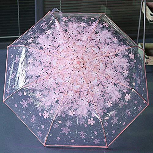 Ombrello pieghevole pieghevole in ciliegio ombrello trasparente trasparente a tre pieghe ombrello pieghevole a otto donne ombrello da pioggia per donna
