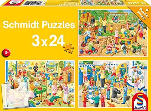 Schmidt Spiele Puzzle 56201 - Standard 3 x 24 Teile Ein Tag im Kindergarten