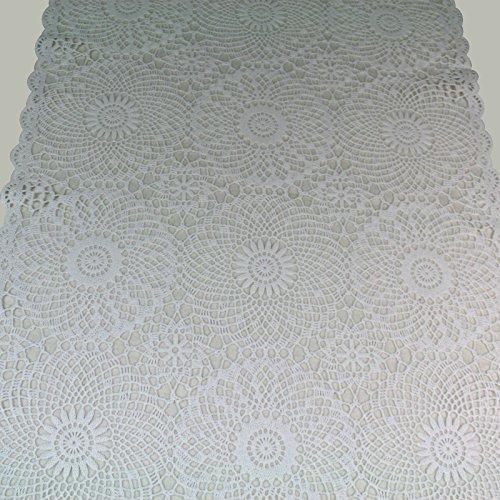 Tischläufer Spitze PVC - weiß - 40 x 150 cm, Camping, Gartentischdecke, Abwaschbar