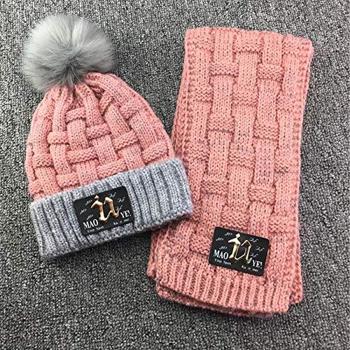 Hut Kinder Winter Fleece Gefütterte Strickmütze Schal Set Patch U Dickes Plaid Beanie Scaft für Mädchen 3-10 Jahre, pink -