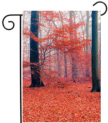 Forest Lawn Memorial (CHKWYN Forest Autumn Red Tree Fall Leaves Seasonal Landscape Garden Yard Flag Double Sided Polyester Welcome House Flag Banners for Patio Lawn Outdoor Home Decor Size: 12.5-inches W X 18-inches H)