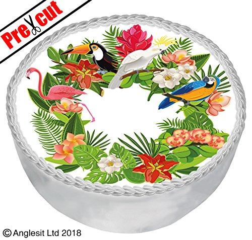 pischen Blumen und Vögel Kuchen B VIII. Topper 17,8cm/18cm essbarem Reispapier/Wafer Papier Dessert Geburtstag Party Sommer Hawaii Dekorationen ()