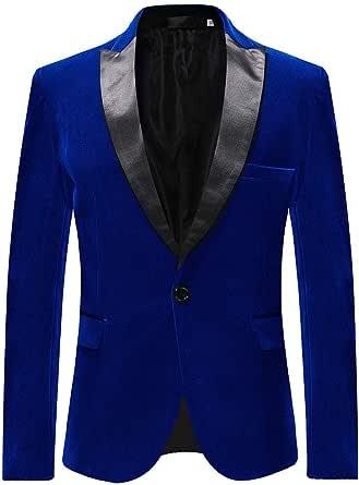 Mens Suits Blazer Slim Fit Velvet One Button Suit Tuxedo Jacket