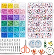 Tiokkss Beads for Jewelry Making, 12000 Pcs 3mm Glass Seed Beads with 1200 Pcs Alphabet Letter Beads for Jewel