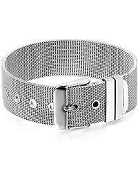 75d33bfed0a766 Flongo Edelstahl Armband Armreifen Manschette Silber Gürtel Schnalle Gürtel  Mesh Klassiker Herren