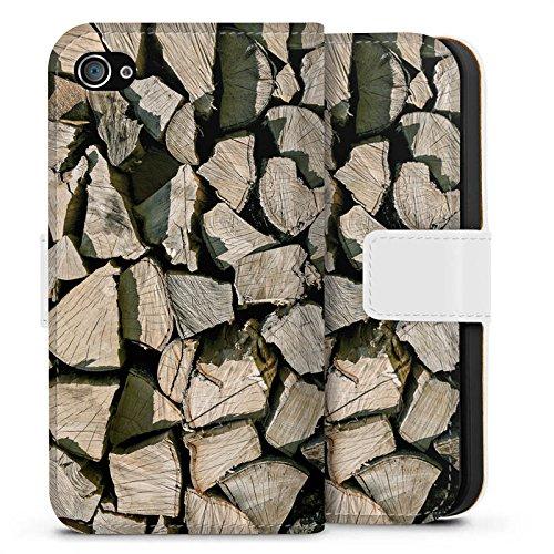 Apple iPhone X Silikon Hülle Case Schutzhülle Holz Look Holzscheite Baum Sideflip Tasche weiß