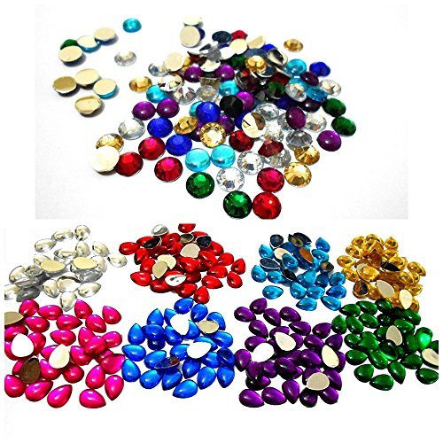 AM Multicolour Kundan Round and Drop Shape Stones Combo for Jewellery Making