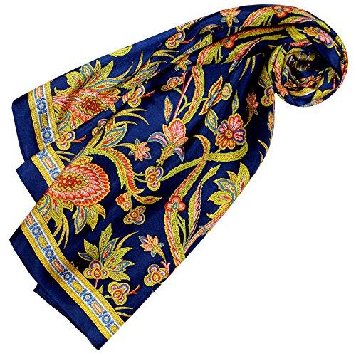 LORENZO CANA Luxus Seidentuch aufwändig bedruckt Tuch 100% Seide 90 x 90 cm harmonische Farben Damentuch Schaltuch