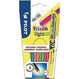 PILOT FriXion Light, radierbarer Textmarker, 6er Set (Neonpink, Neongelb, Violett, Blau, Orange, Grün)