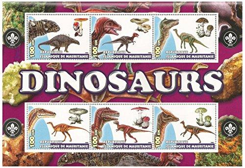Dinosaurier-Block mit Pilzen Block mit sechs Briefmarken von fv 100 Mauritanjan Ouguiyas jeder. Sammler/Philatists Artikel. Islamische Repubiic Mauretanien / 2003 / MNH