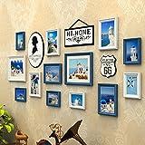 hjky Fotorahmen Bilderrahmen Wall Set American Bilderrahmen Wand Restaurant Wohnzimmer Gängen, gerahmt Gemälde redng Continental Sofa Hintergrund Foto Wand blau/weiß