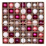 Valery Madelyn 49-tlg Modische Silberne Rosa Bruchsichere Kugeln Dekoration für Hochzeit/Festival,Tafelaufsatz, inklusive 49 Aufhängehaken