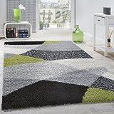 Paco Home Shaggy Teppich Hochflor Langflor Weich Geometrisch Gemustert Grau Schwarz Grün, Grösse:70x140 cm