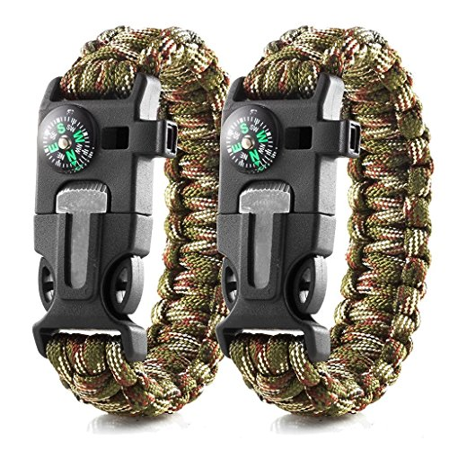 ekind Survival Paracord Armbänder | Notfall Outdoor Paracord Survival Armband mit Multi Tool | Flint Fire Starter, Pfeife, Kompass Notfall Messer & Rescue Seil | 2Stück
