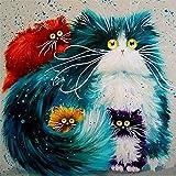 DIY Vorgedruckt Leinwand-Ölgemälde Geschenk für Erwachsene Kinder Malen Nach Zahlen Kits Home Haus Dekor - Katzen 40*50 cm