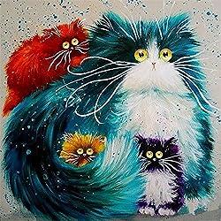 Fuumuui DIY Malen Nach Zahlen Ölgemälde Vorgedruckt Leinwand Geschenk für Erwachsene Kinder Home Haus Dekor Mit Holzrahmen- Katzen 40*50 cm