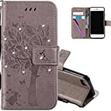 COTDINFOR iPhone 5S Hülle für Mädchen Elegant Retro Premium PU Lederhülle Handy Tasche mit Magnet Standfunktion Schutz Etui für iPhone 5 / 5S / SE Gray Wishing Tree with Diamond KT.