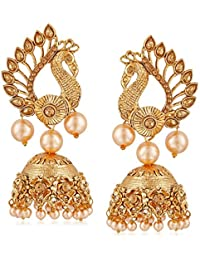 Meenaz Wedding Bridal Gold Pearl Peacock Kundan Jhumka Jhumki Earrings For Women Girls Party Wear Stylish Necklace...