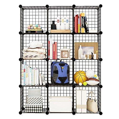 KOUSI Aufbewahrungswürfel Drahtgitter Modulare Metallwürfel Organizer Bücherregale Und Bücherregale Origami Multifunktionsregaleinheit, 12 Würfel -