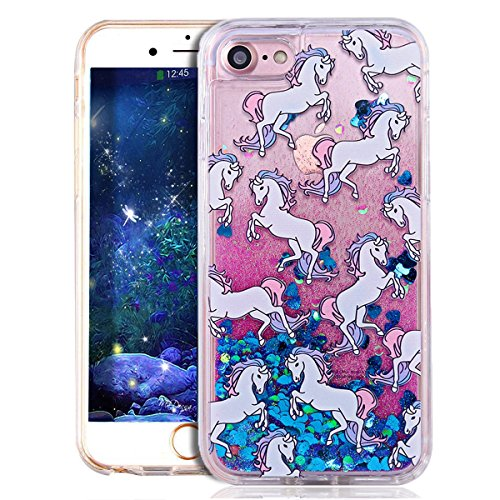 Glitzer Hülle Für iPhone 7,Transparent Hülle Für iPhone 7 Clear Glitzer Liquid Crystal Hard Case,EMAXELERS iPhone 7 Hülle Blumen,iPhone 7 Hülle Flamingo,iPhone 7 Hülle Bling Glitzer Cristal 3D Kreativ Horse 2