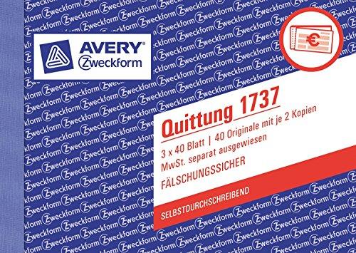 Avery Zweckform 1737 Quittung MwSt. separat ausgewiesen (A6 Quer, selbstdurchschreibend, 3x40 Blatt) weiß/gelb/rosa (4 Stück)