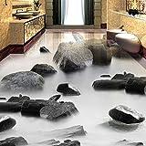 Lmopop 3D Stein Wasser Bodenfliesen Malerei Wandbild Wohnzimmer Badezimmer Wasserdicht PVC Selbstklebende Bodenbelag Tapete Aufkleber200X140Cm