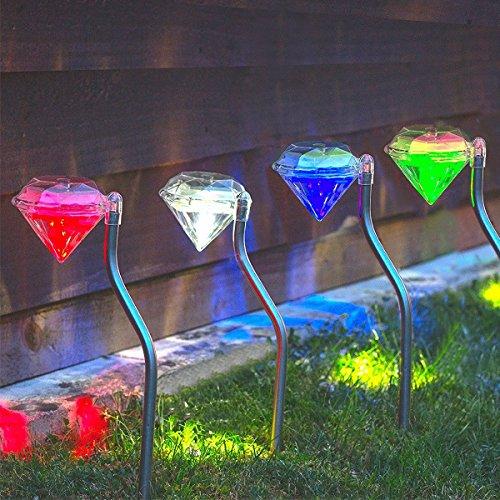 Ledmomo paletti con luce lampioni da esterno giardino prato con energia solare lampada giardino a forma di diamante con luce colorata (4pcs)