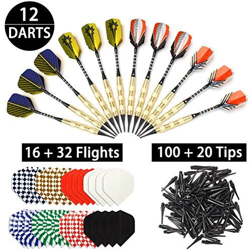 Dartpfeile Set 120 Dartspitzen 18g Darts Set 12 Softdart Pfeile mit 16 Flight