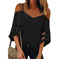 GOSOPIN Women Casual Loose 3/4 Mesh Bell Sleeves Blouse and Tops for Off Shoulder Tops Shirts Tee
