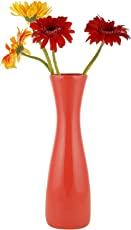 Woodenclave White Ceramic Sleek Flower Vase for Home and Office Décor