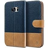 BEZ® Samsung Galaxy S7 Hülle, Handyhülle Samsung Galaxy S7, Handytasche Schutzhülle Tasche Flip Case [Stoff Bezug und PU Leder] mit Kreditkartenhaltern, Standfunktion - Blau Marine