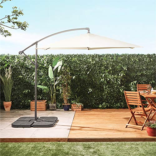 VonHaus Parasol Set - Includes 3m Cantilever Umbrella, Parasol Base & Waterproof Storage Cover - Tilt & Ratchet - Patio/Decking/Garden/Outdoor Dining - UV30+ protection