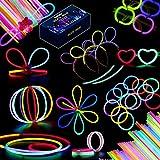 Meloive Bastoncini Luminosi Fluorescenti – 100pezzi 5mm Accessori Luminosi Fluo per Feste, Include Fasce, Montature per Occhiali, Bracciali, Bastoncini per Fiori che Brillano al Buio per Compleanni, Rave, Carnevale e Capodanno (5 Colori)