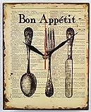 Schmiedegarten Wanduhr Bon Appétit - Uhr aus Metall im Vintage Shabby Stil - Blechschild Hängeuhr Küchenuhr - Guten Appetit